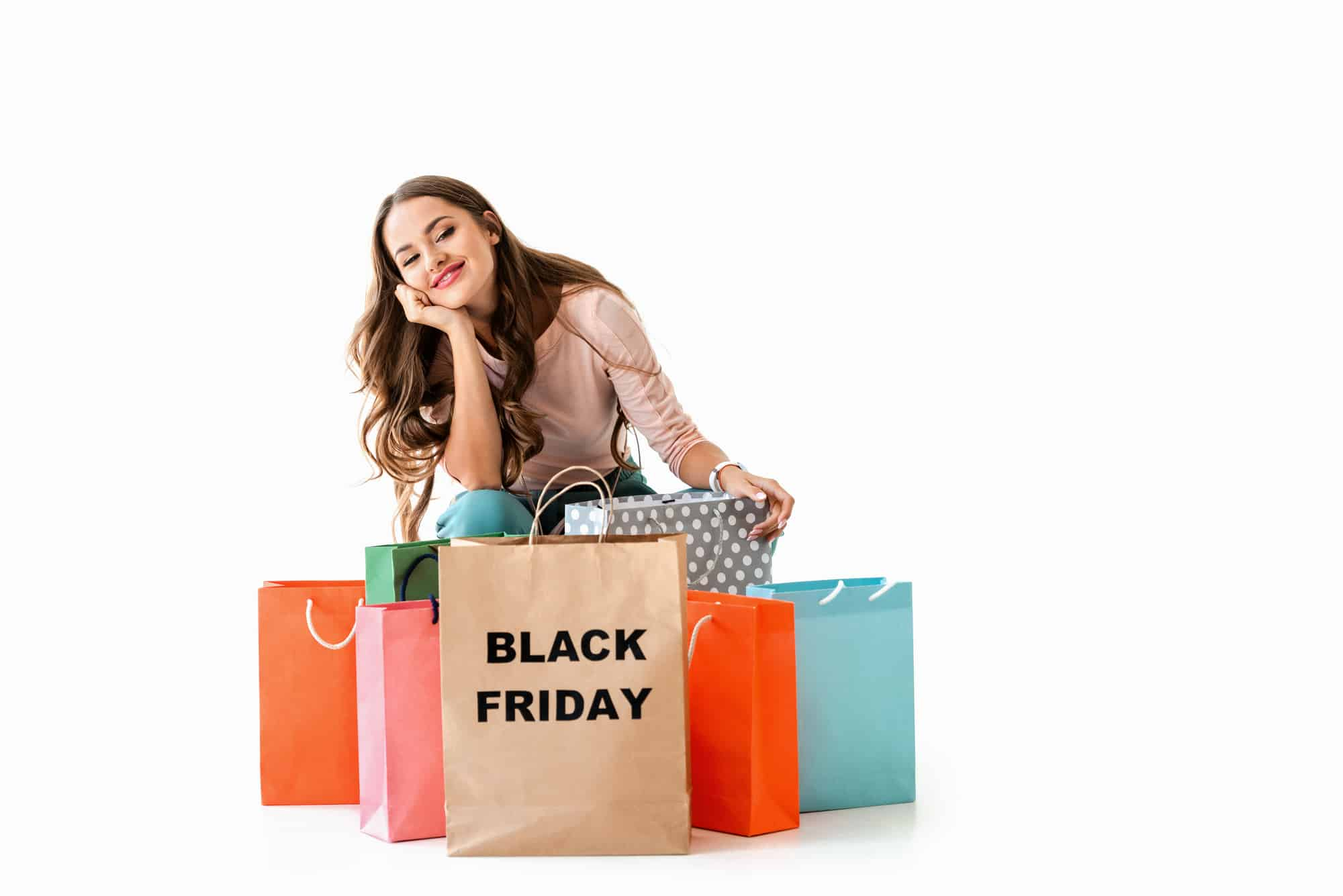 Lady with shopping bags that say Black Friday