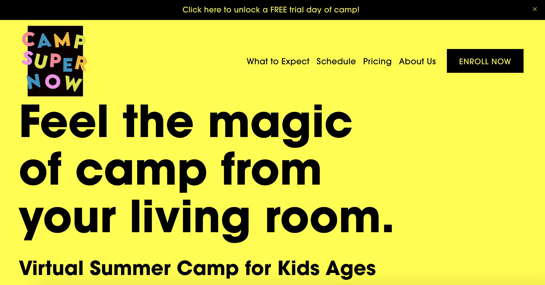 Camp SuperWow homepage