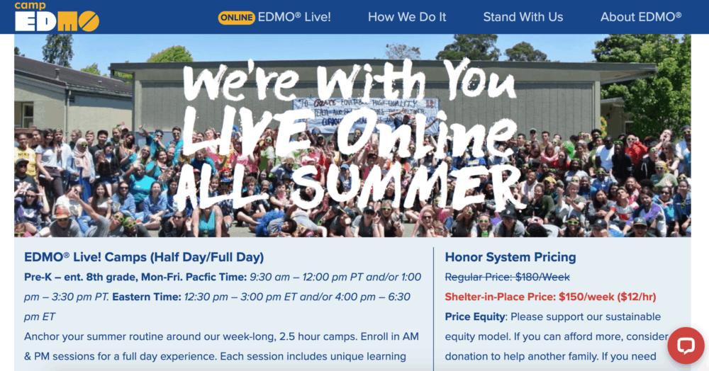 Camp Edmo summer camp homepage