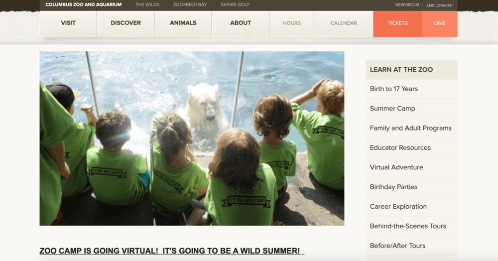 Columbus Zoo summer camp homepage