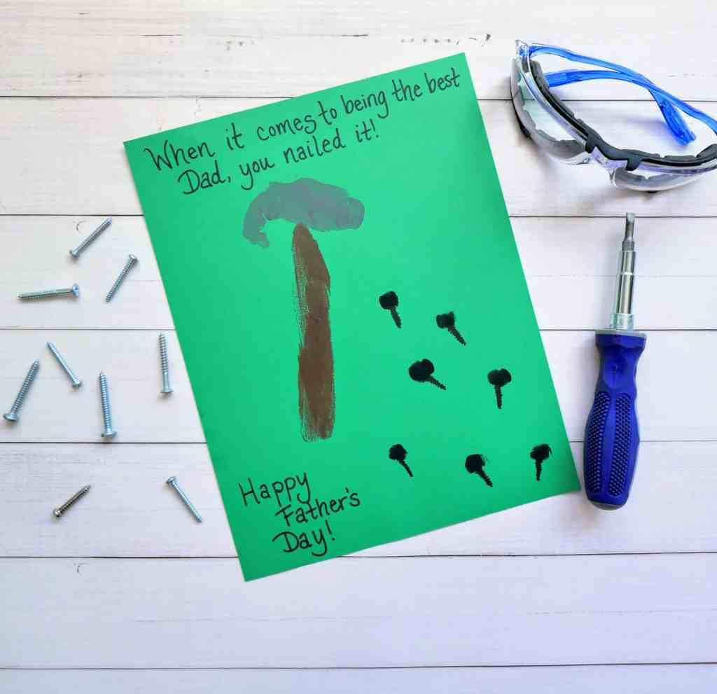 """""""Nailed it"""" Father's Day card with tools on a table by made in a pinch"""