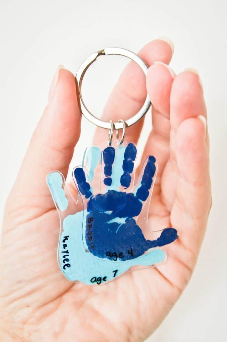 shrinky dink hand keychain