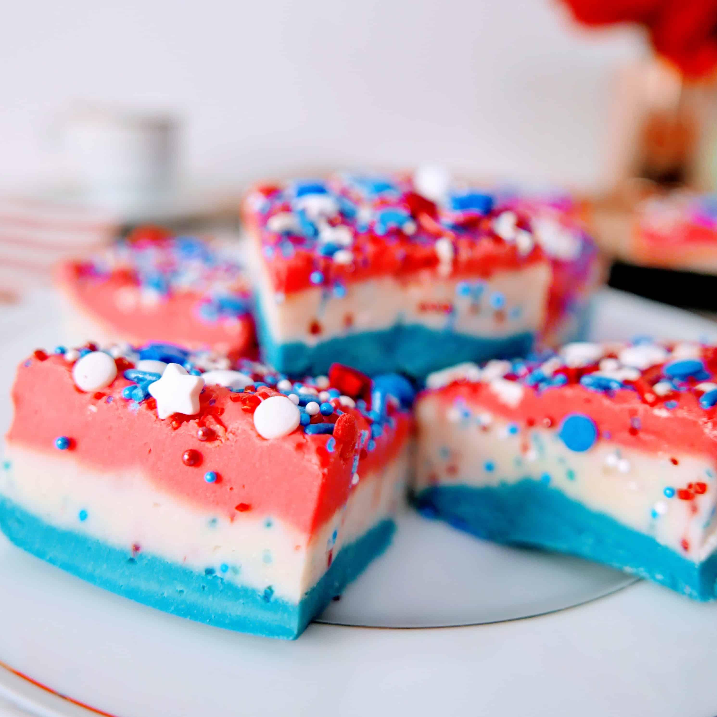 sliced pieces of layered patriotic vanilla fudge