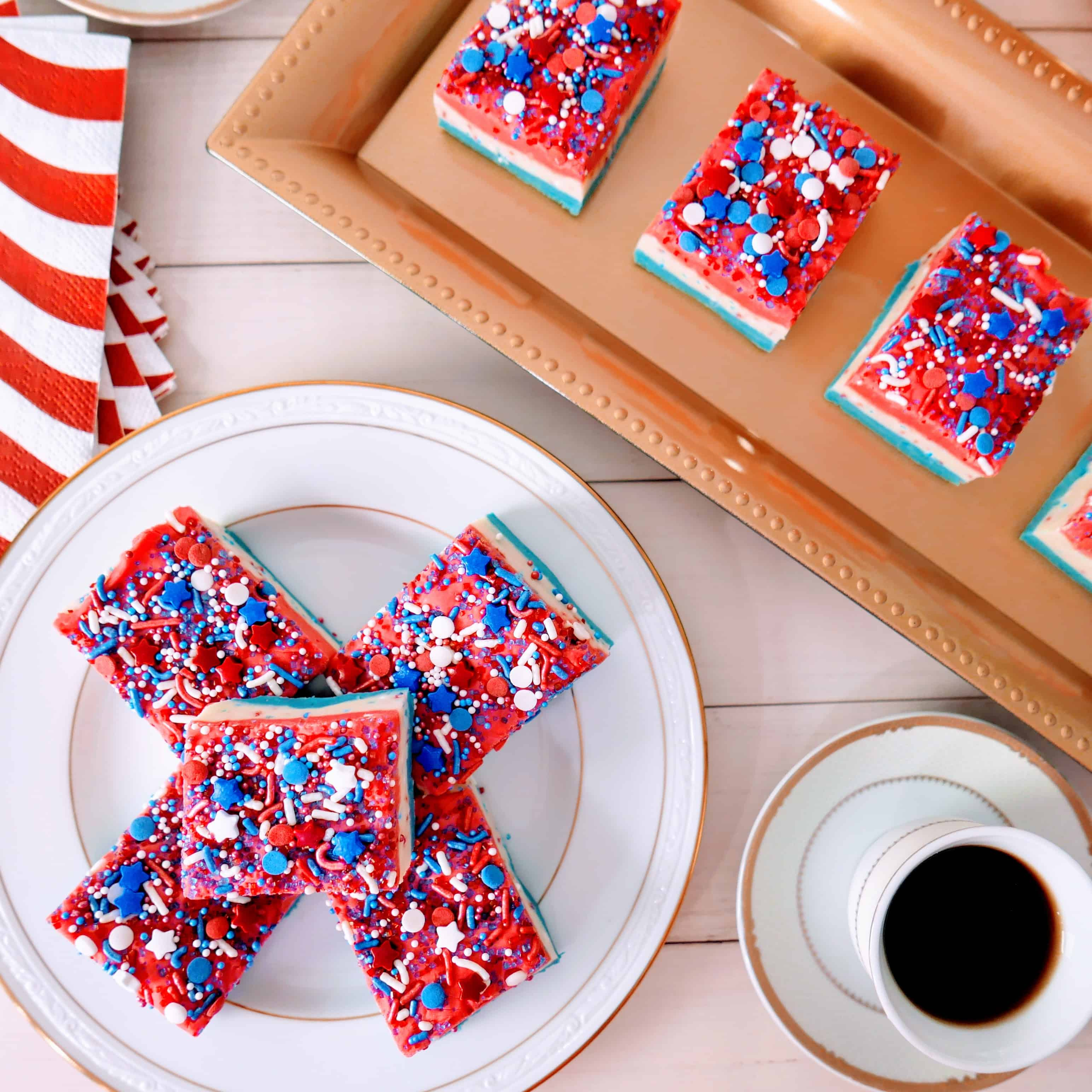 cut pieces of red, white, and blue fudge