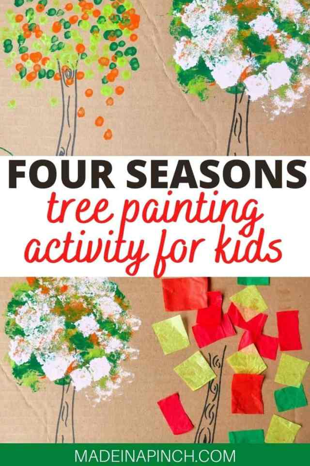 four seasons tree painting craft pin A