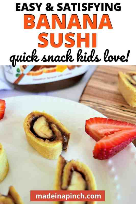 banana sushi with peanut butter pin image