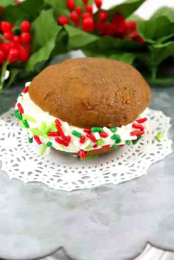 close up of gingerbread whoopie pie with holiday sprinkles