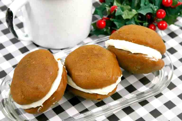 3 gingerbread whoopie pies on a dish
