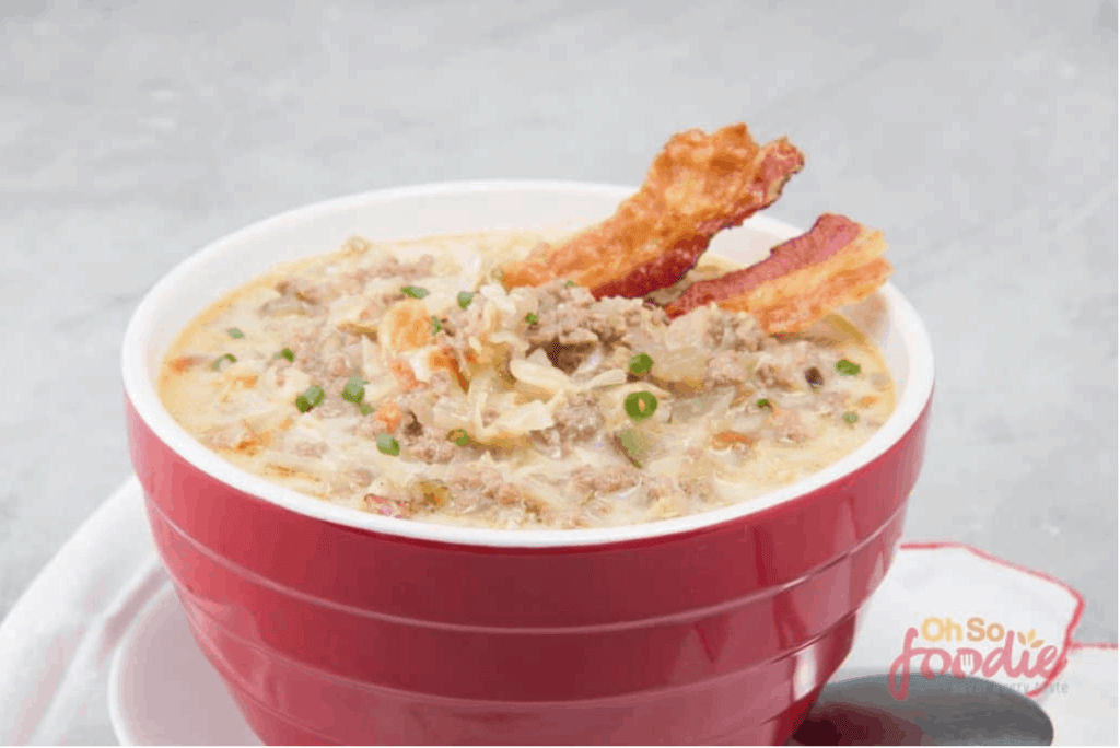 slow cooker keto hamburger soup with cream cheese