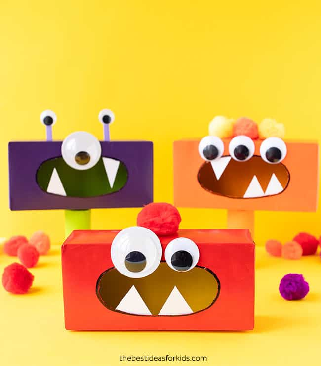 Homemade tissue box monsters
