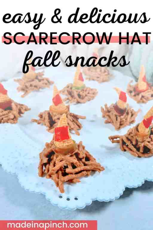 Scarecrow hat snacks as easy fall snacks for kids pin image