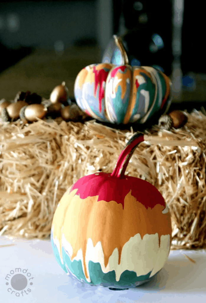 drip painting decorated pumpkins