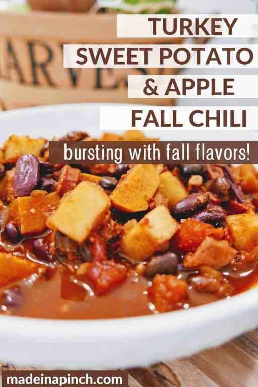 turkey sweet potato chili with apples pin image