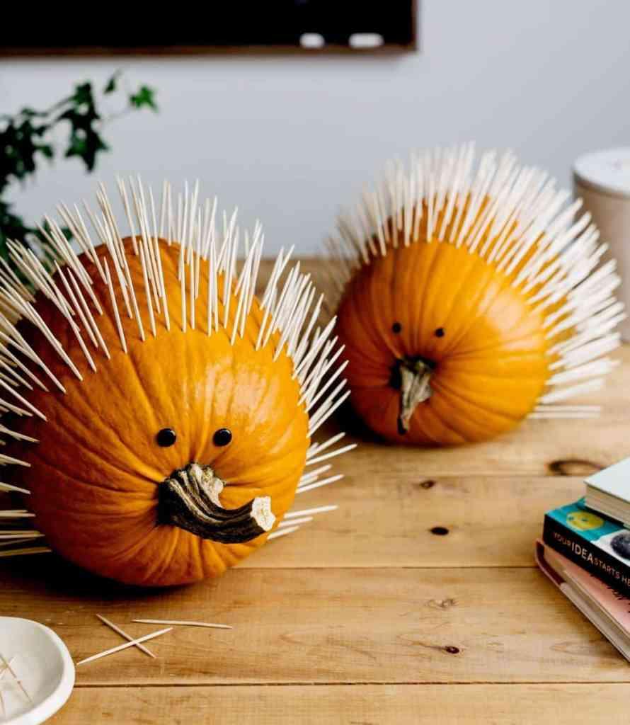 hedgehog pumpkin decorating idea