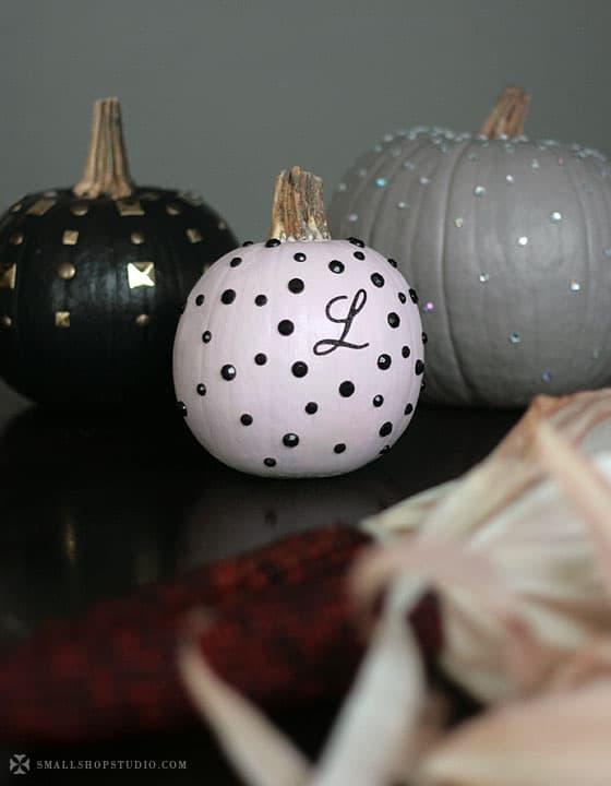 chic studded pumpkins decorating idea