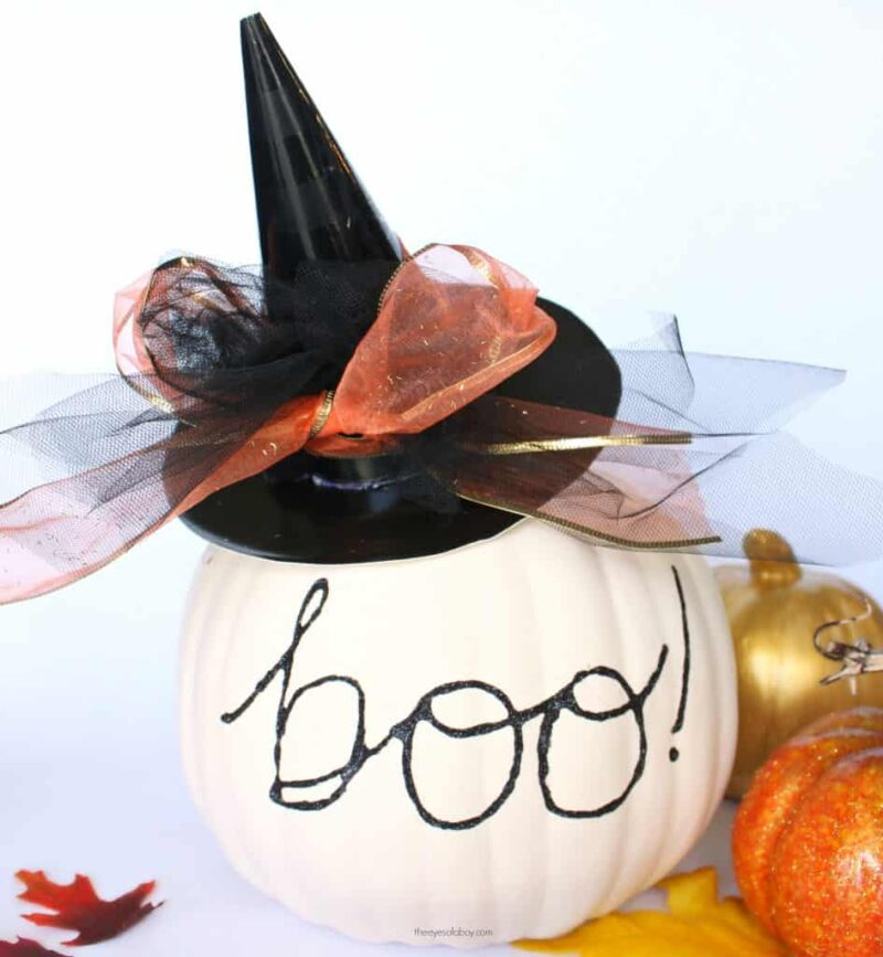 pumpkin decorated with a witch hat