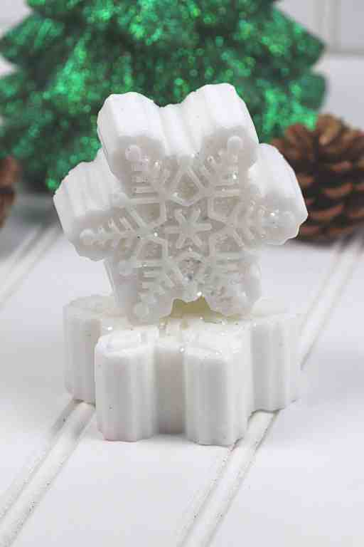 stacked sparkly snowflake DIY soap bars
