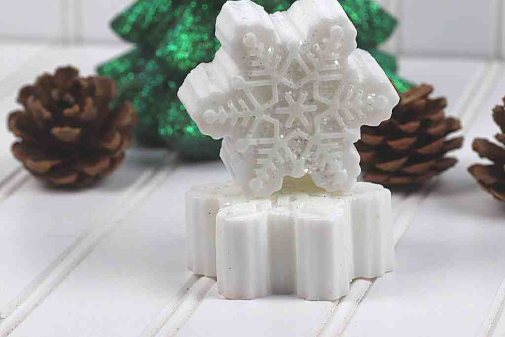 stacked sparkly snowflake soap bars
