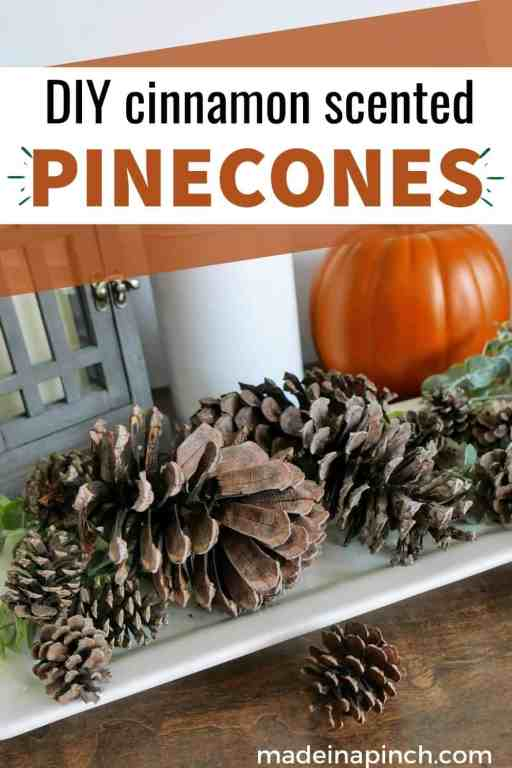 DIY scented pinecones pin image