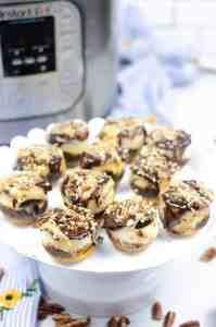 Instant Pot mini turtle cheesecake bites on a platter
