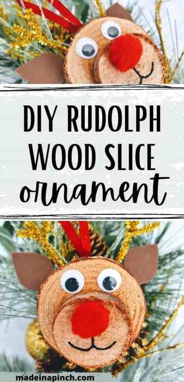 Rudolph wood slice ornament diy