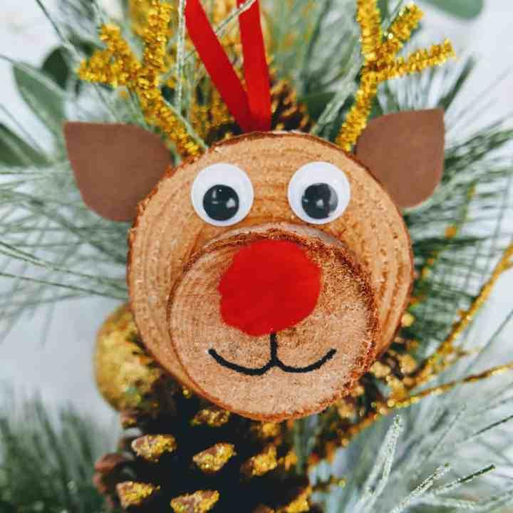 Rudolph wood slice ornament