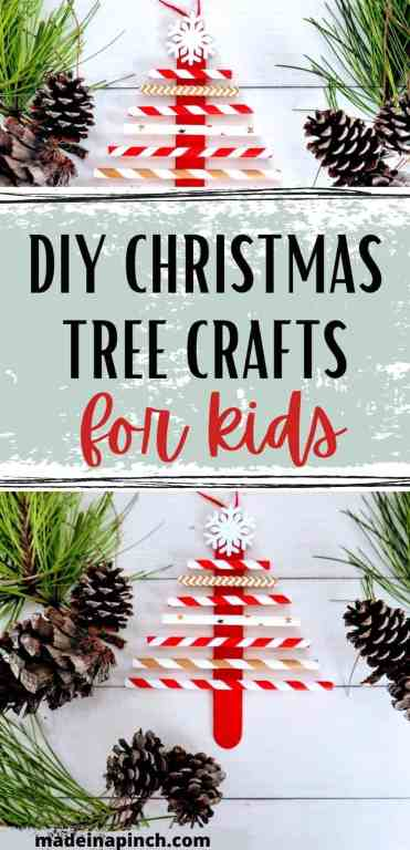 paper straw Christmas tree craft ornament pin image