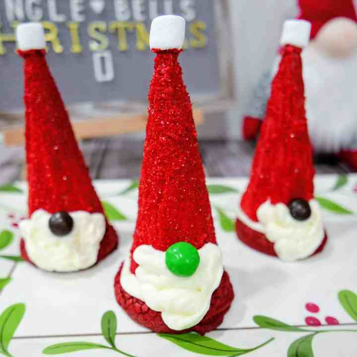 close up of Santa gnome cake mix cookies on a tray