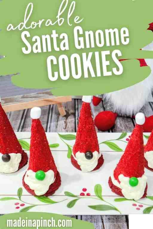 Santa gnome cookies pin image