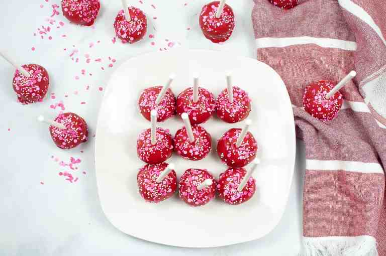 Valentine cake pops on a plate