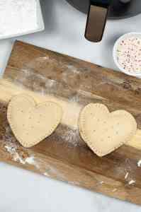 Air Fryer Valentine's Day pop tarts pieced together