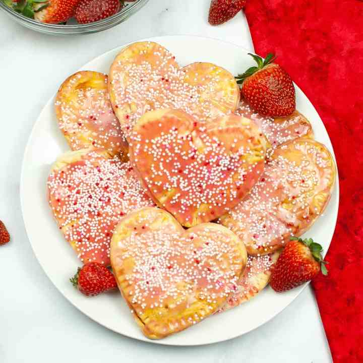 Air Fryer Valentine's Day pop tarts on plate closeup