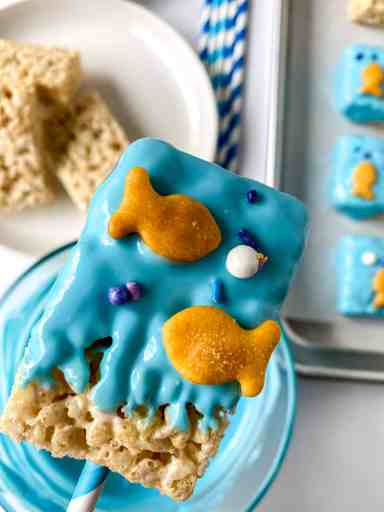"coated rice krispy treat with goldfish and ""bubbles"""