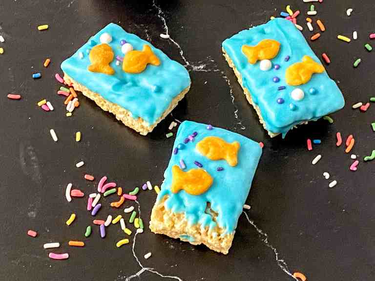 3 decorated 1fish2fish rice krispy treats with scattered sprinkles