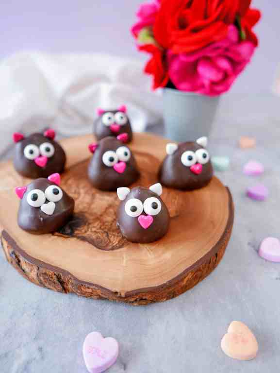 Valentine's Day chocolate-covered strawberries decorated as lovebirds