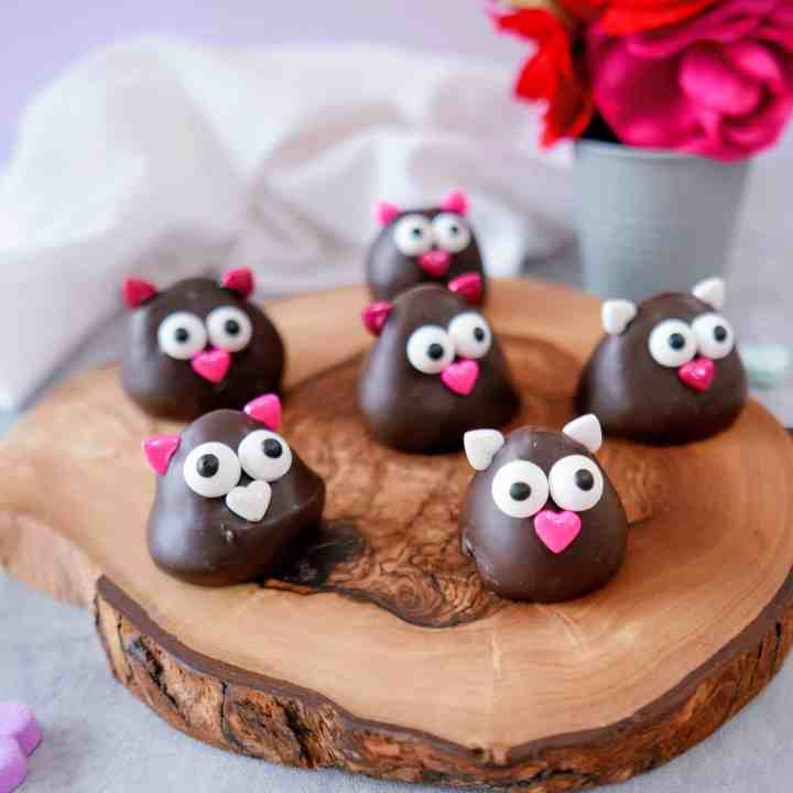 Valentine's Day chocolate-covered strawberries decorated as love birds on a wood tray