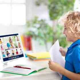 boy on remote learning call
