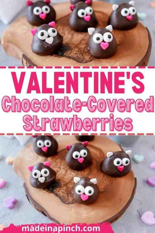 Valentine's chocolate-dipped strawberries pin image