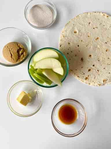 TikTok viral tortilla wrap ingredients for caramel apple version