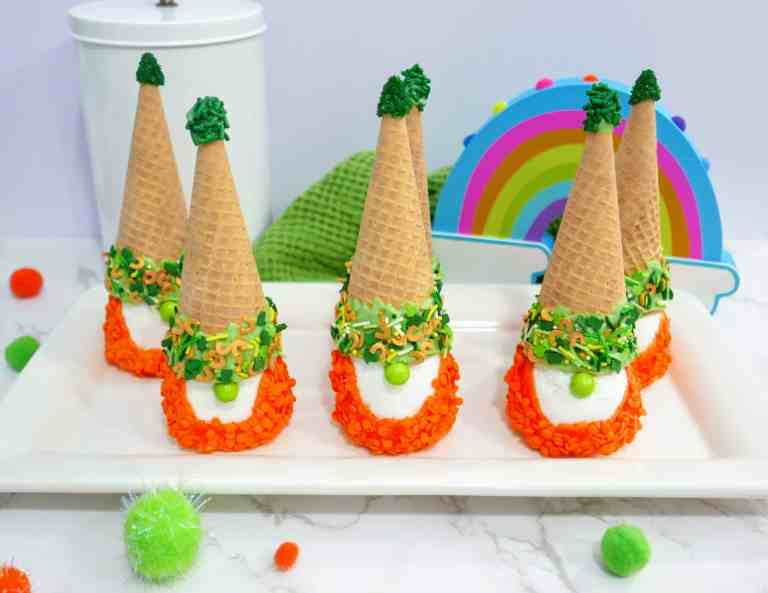 St. Patrick's Day gnomes on a white tray