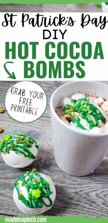 St. Patrick's Day DIY hot cocoa bombs long pin image