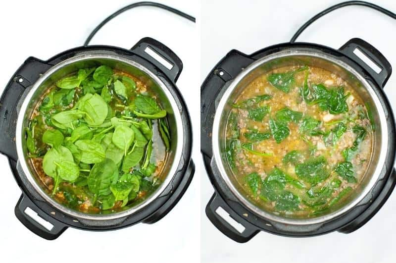 IP Sausage Potato Spinach Soup process collage 3