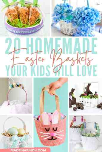 Making homemade Easter baskets isn't as common today as it once was, but it's still a fun and easy project! This year try making your own DIY Easter baskets using these simple but creative ideas as inspiration! No matter what kind of Easter baskets you're looking for, there are plenty of homemade Easter Basket ideas to choose from! #easter #diy #easterbaskets #homemade #madeinapinch