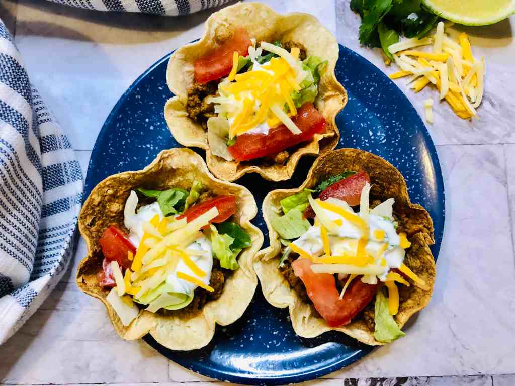 mini taco cups on a plate