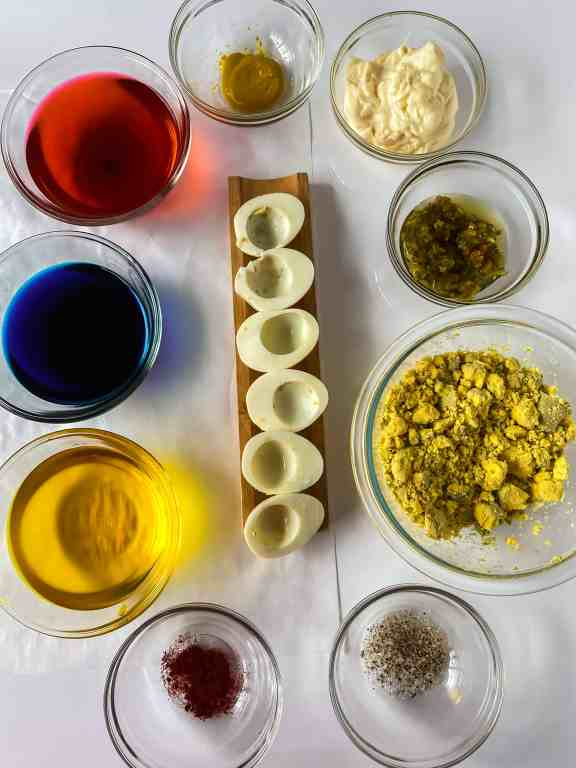 ingredients for colored deviled eggs