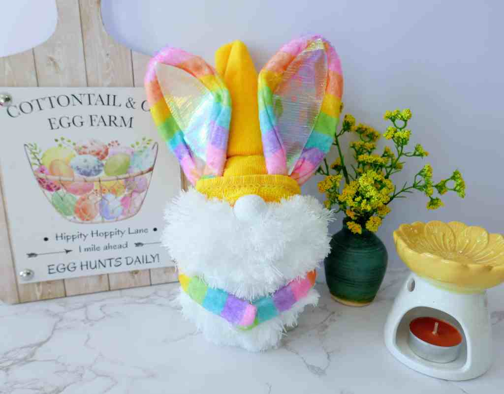 finished DIY Easter bunny gnome
