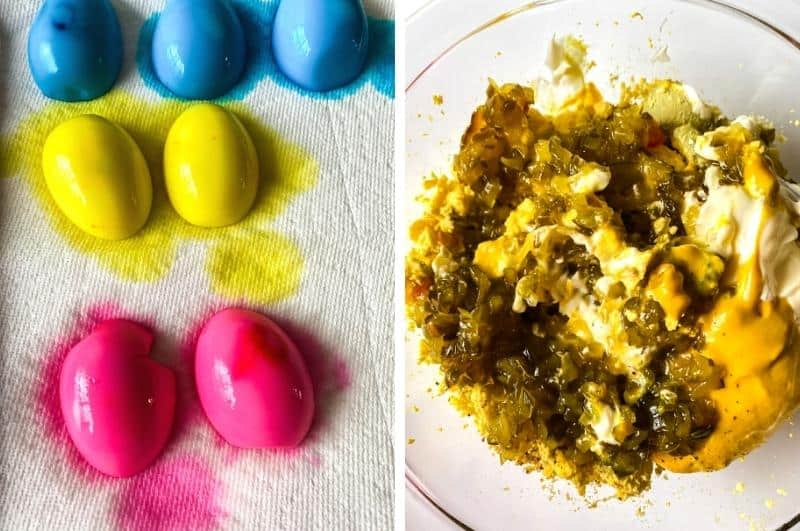 image collage of dyed egg whites drying on a paper towel and a bowl with the yolk filling ingredients to mix.