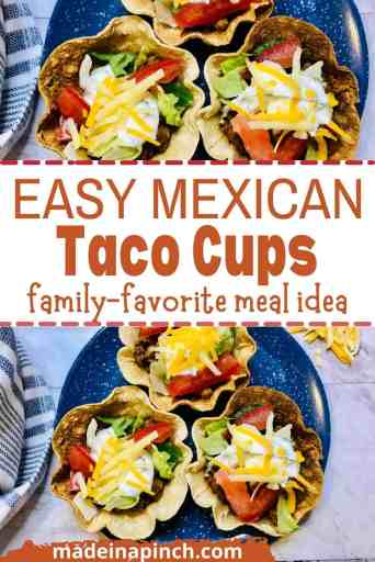 These homemade taco cups are super simple to make and equally as versatile so you can make them according to your family's preference - or change them up if you want variety! These gluten-free easy Taco Cups are made with tortillas for a simple family-favorite healthy dinner! They're the perfect finger food appetizer for parties and game days, or the best family dinner that kids actually love. Add all your favorite tacos toppings for the perfect weeknight meal! #tacocups #tacocupswithtortillas #glutenfree #tortillabowls #weeknightdinner