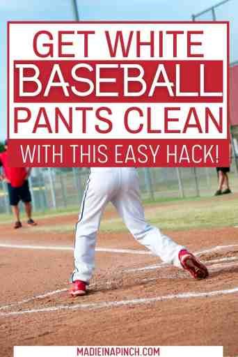 This magical tip will clean white softball and baseball pants easily and effectively! Use these step-by-step instructions to remove stains quickly - there's even a great tip to get those really stubborn grass or red clay stains OUT! #howtocleanbaseballpants #youthbaseball #baseballpants #clean #momtips