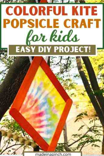 colorful kite popsicle crafts for kids pin image